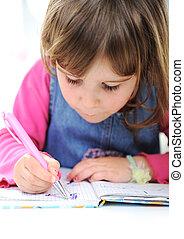 crayons, peu, maison, girl, dessin, heureux