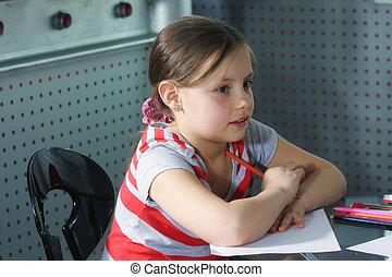 crayons, peu, papier, girl