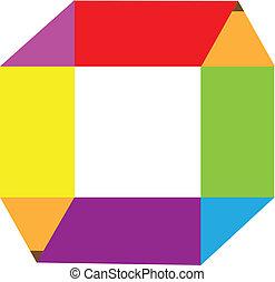 crayons, résumé, coloré, logo
