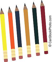 crayons, rang, isolé, dessin