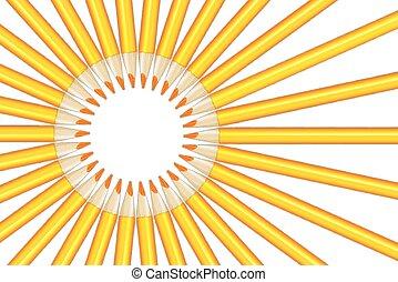 crayons, rayons, jaune, figure, soleil
