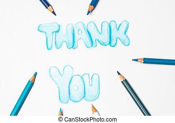 crayons, remercier, couleur, vous, dessin