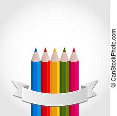 crayons, ruban blanc, fond, coloré