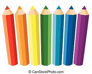 crayons, sept, ensemble, coloré, arrière-plan., vecteur, blanc, illustration.