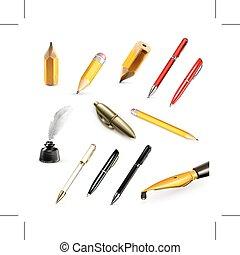 crayons, stylos, icônes