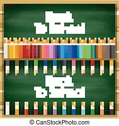 crayons, tableau, fond, coloré