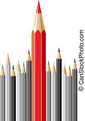 crayons, vecteur, concept, direction