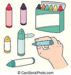 crayons, vecteur, ensemble