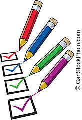 crayons, vecteur, liste contrôle