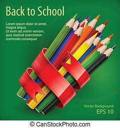 crayons, vert, ruban, attaché