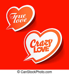 Crazy and True love bubbles vector illustration