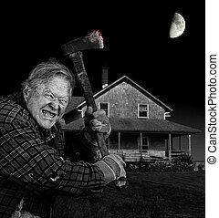 Crazy axeman and old cedar shingle house