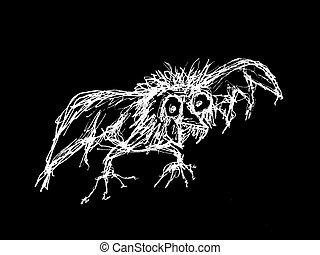 Crazy Bird Sketch Raster Illustration