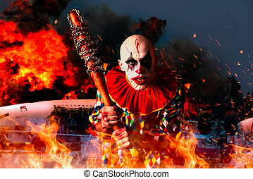 Crazy bloody clown, airplane in fire on background
