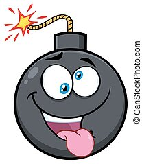 Crazy Bomb Face Cartoon Mascot Character With Expressions