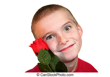 Crazy Boy With Red Rose