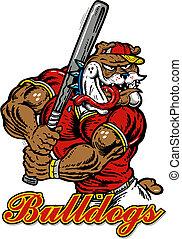crazy bulldog with baseball bat