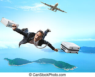 crazy business man flying from passenger plane with briefcase and luggage with glad and happiness emotion use for people vacation holiday traveling to destination island