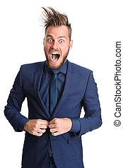 Crazy businessman in a suit