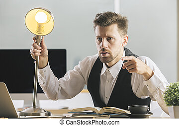 Crazy businessman interrogating someone - Crazy businessman...