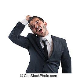 Crazy businessman screams