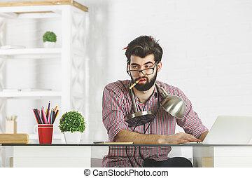 Crazy businessman workplace