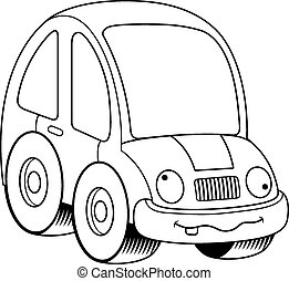 Crazy Cartoon Car - A cartoon illustration of a car looking...