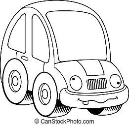 Crazy Cartoon Car - A cartoon illustration of a car looking...
