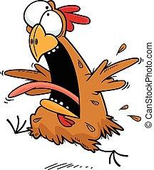 Crazy Cartoon Chicken - Cartoon illustration of a crazy...