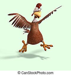 crazy cartoon chicken - sweet toon chicken with cute face...