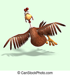 crazy cartoon chicken - sweet toon chicken with cute face ...