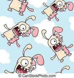 Crazy Cartoon Easter Bunny Pattern