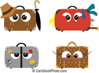 Crazy cartoon luggage - Cartoon luggage ready to go on a...