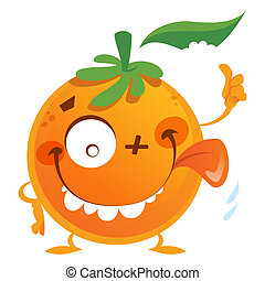 Crazy cartoon orange fruit character making a thumbs up...