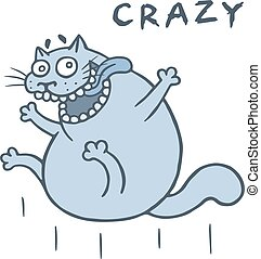 Crazy cat jumps from happiness. Vector illustration. Cartoon...