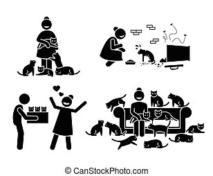 Crazy Cat Lady Stick Figure Pictogram Icons.