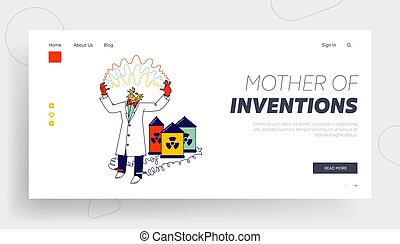 Crazy Character Conducting Experiments in Laboratory Landing Page Template. Mad Scientist Connect Wires of Toxic Batteries to Legs Has Electricity Discharge between Hands. Linear Vector Illustration