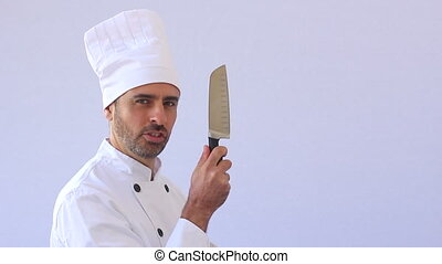chef with knife - Crazy chef with knife