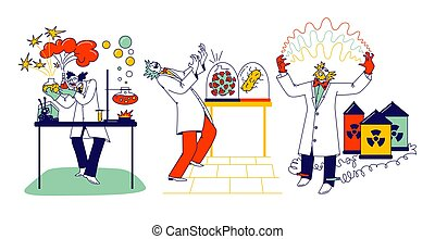 Crazy Chemist Characters, Mad Scientist Conduct Experiments in Scientific Laboratory with Nuts Expression on Face, Mix Liquids in Flasks, Grow Virus and Electricity. Linear People Vector Illustration