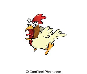 Crazy Chicken Character with Cartoon Style