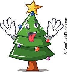 Crazy Christmas tree character cartoon