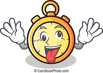 Crazy chronometer character cartoon style