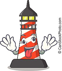 Crazy classic cartoon lighthouse of red