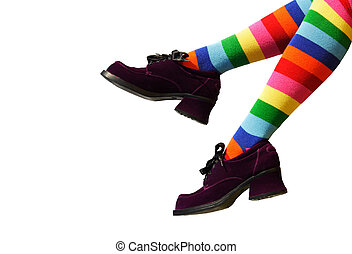 Crazy Clown Feet - Striped knee-hi socks and wickedly wonky,...