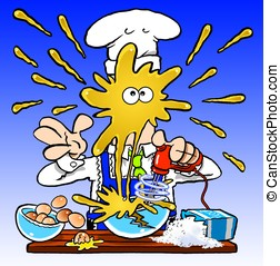 Crazy Cook - Cartoon chef mixing pancake batter, with...