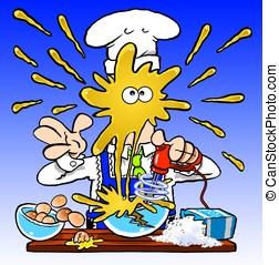 Crazy Cook - Cartoon chef mixing pancake batter, with...