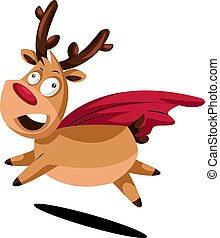 Crazy cristmas deer with red cape vector illustration on a white background