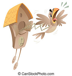A cartoon piessed off cuckoo jumping out of the old clock announcing time.