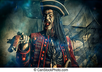 crazy dead pirate - Horror novel character. Aggressive angry...