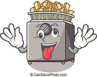 Crazy deep fryer machine isolated on mascot vector...